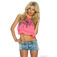 SEXY CHIFFON BELLY CROP TOP WITH FLOWERS CORAL