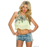 SEXY CHIFFON BELLY CROP TOP WITH FLOWERS YELLOW Onesize (UK 8,10,12)