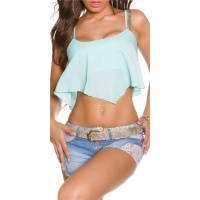 SEXY LOOSE-FIT CHIFFON CROP TOP TRANSPARENT MINT GREEN Onesize (UK 8,10,12)