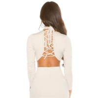 SEXY LONG-SLEEVED LADIES CROP SHIRT WITH LACING BEIGE