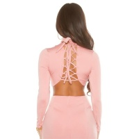 SEXY LONG-SLEEVED LADIES CROP SHIRT WITH LACING PINK