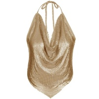 SEXY CROPPED HALTERNECK TOP MADE OF METAL PARTY CLUBBING...