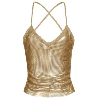 SEXY PARTY CROP TOP MADE OF METAL WITH LACING GOLD