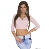 SEXY BELLY TOP WITH HALF-LENGTH SLEEVES PINK