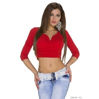 SEXY BELLY TOP WITH HALF-LENGTH SLEEVES RED