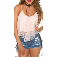 SEXY STRAPPY CROP TOP WITH MESH PINK