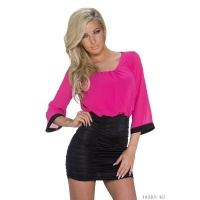 SEXY BI-COLOUR MINIDRESS WITH ELEGANT GATHERS FUCHSIA/BLACK