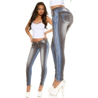 SKINNY BI-COLOUR DRAINPIPE JEANS WITH FANCY SEAMS BLACK/BLUE