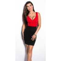 SEXY BI-COLOUR STRAPPY DRESS MINIDRESS WITH BUTTONS RED/BLACK Onesize (UK 8,10,12)