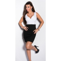 SEXY BI-COLOUR STRAPPY DRESS MINIDRESS WITH BUTTONS WHITE/BLACK Onesize (UK 8,10,12)