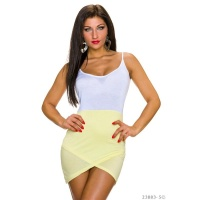 SEXY BI-COLOUR STRAPPY LONGTOP ASYMMETRICAL WHITE/YELLOW