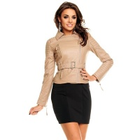 SEXY BIKER JACKET MADE OF SOFT IMITATION LEATHER WITH BELT BEIGE