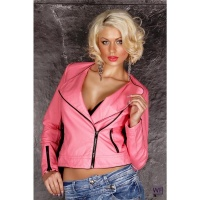 SEXY BIKER JACKET IN LEATHER-LOOK WITH ZIPPER PINK
