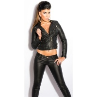 SEXY BIKER JACKET IN LEATHER-LOOK WITH ZIPPER BLACK UK 12 (L)