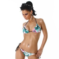 SEXY PUSH-UP BIKINI WITH GLITTER-EFFECTS BEACHWEAR MULTICOLOUR UK 10