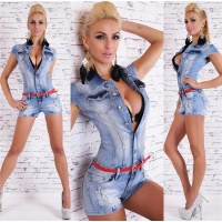 SEXY BLEACHED BLUE HOTPANTS JEANS OVERALL INKL. GÜRTEL...