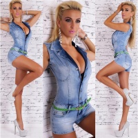 SEXY BLEACHED HOTPANTS JEANS-OVERALL JUMPSUIT WITH BELT BLUE UK 16 (XL)