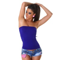 SEXY BODY-SHAPE BANDEAU TOP AUS STRETCHSTOFF ROYAL BLAU