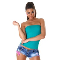 SEXY BODY-SHAPE BANDEAU TOP MADE OF STRETCH FABRIC TURQUOISE