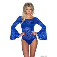 SEXY BODYSHIRT MADE OF LACE WITH TRUMPET SLEEVES ROYAL BLUE