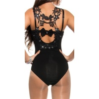 SEXY BODYSHIRT WITH CROCHET LACE AND RHINESTONES BLACK UK 10 (M)