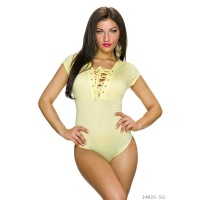 SEXY BODYSHIRT WITH LACING AT THE NECKLINE YELLOW
