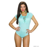 SEXY BODYSHIRT WITH LACING AT THE NECKLINE TURQUOISE