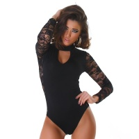 FEMININE BODYSHIRT WITH LACE BLACK Onesize (UK 8,10,12)