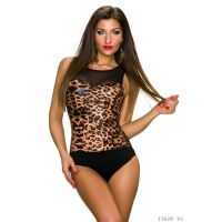 SEXY BODY-TOP IM LEO-LOOK MIT TÜLL TRANSPARENT SCHWARZ/BRAUN