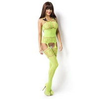 SEXY BODYSTOCKING CATSUIT WITH FLOWER DESIGN NEON-GREEN