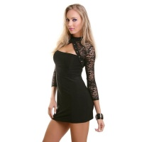 SEXY BOLERO EVENING DRESS MINI DRESS WITH LACE BLACK UK 10/12