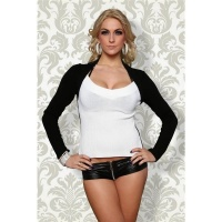 SEXY BOLERO-SWEATER KNITTED SWEATER BLACK/WHITE UK 8/10 (S/M)