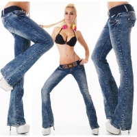SEXY BOOTCUT JEANS ACID-WASH INCL. BELT DARK BLUE