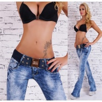 SEXY BOOTCUT JEANS ACID-WASH WITH BUTTON-FLY INCL. BELT...