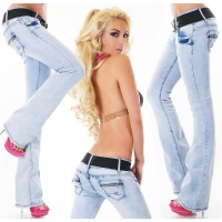SEXY BOOTCUT JEANS WITH STRETCH-BELT BLEACHED LIGHT BLUE UK 14 (L)