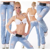 SEXY BOOTCUT JEANS IN DESTROYED-LOOK INCL. BELT LIGHT BLUE