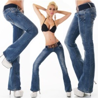 SEXY BOOTCUT JEANS USED-LOOK BUTTON FLY WITH BELT DARK BLUE