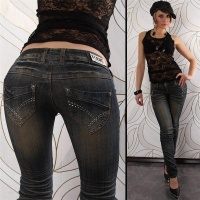 SEXY BT JEANS DIRTY USED LOOK RÖHRENJEANS DUNKELBLAU