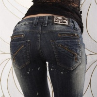 SEXY LOW-CUT BT JEANS DIRTY USED LOOK DARK BLUE UK 10