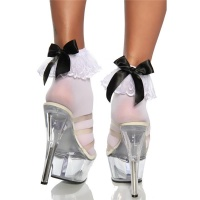 SEXY ANKLE SOCKS WITH RUFFLE AND SATIN BOW WHITE/BLACK