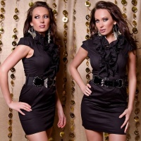SEXY BUSINESS PENCIL DRESS WITH FRILLS BELT BLACK UK 8 (S)