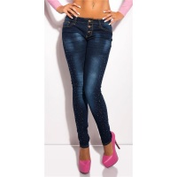SEXY BUTTON FLY SKINNY DRAINPIPE JEANS WITH METAL BEADS DARK BLUE UK 14