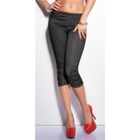 SEXY CAPRI LEGGINGS JEGGINGS JEANS-OPTIK MIT ZIER-ZIPPER...