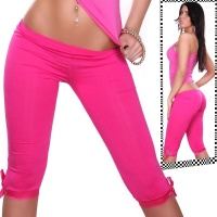 SEXY CAPRI LEGGINGS WITH SATIN FUCHSIA Onesize (UK 8,10,12)