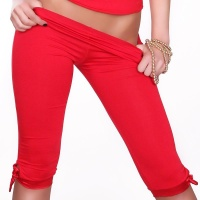 SEXY CAPRI LEGGINGS MIT SATIN ROT