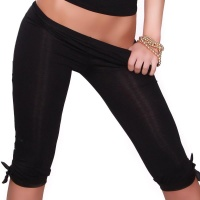 SEXY CAPRI LEGGINGS WITH SATIN BLACK Onesize (UK 8,10,12)