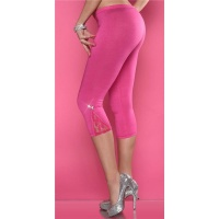 SEXY CAPRI LEGGINGS WITH LACE RHINESTONES FUCHSIA Onesize (UK 8,10,12)