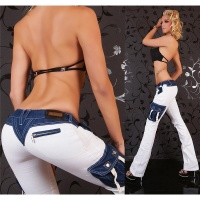 SEXY LOW-RISE CARGO BOOTCUT JEANS WHITE/DARK BLUE