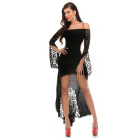 SEXY CARMEN COCKTAIL DRESS WITH LACE LATINO DRESS SALSA BLACK