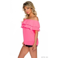 SEXY CHIFFON TOP IN LATINA STYLE WITH FLOUNCES NEON-FUCHSIA